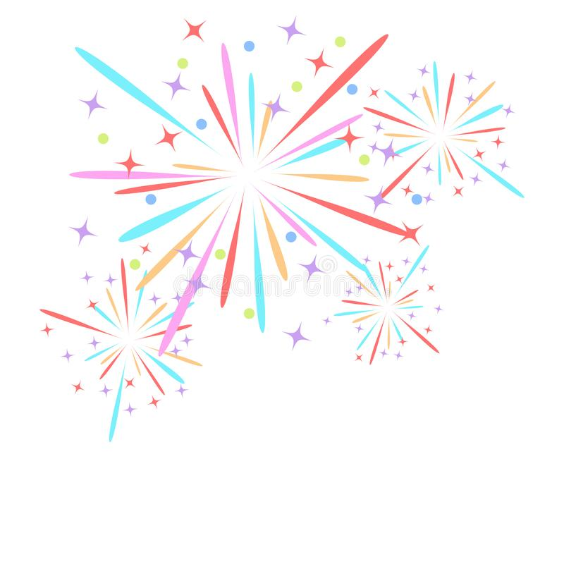 Fireworks rocket explodes in colored stars. Design element on isolated white background. Abstract vector illustration. vector illustration
