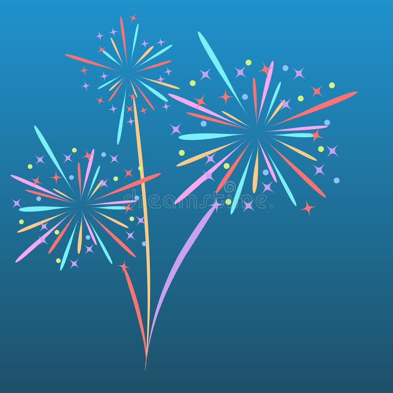 Free Fireworks Rocket Explodes In Colored Stars. Design Element On Isolated Blue Background. Abstract Vector Illustration. Stock Images - 129586184