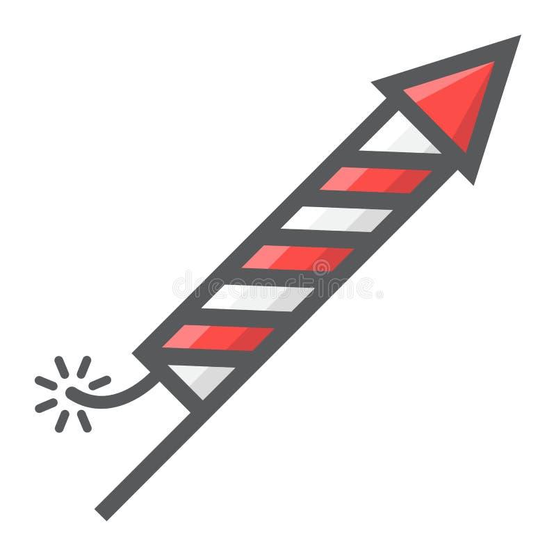 Fireworks rocket filled outline icon, New year vector illustration