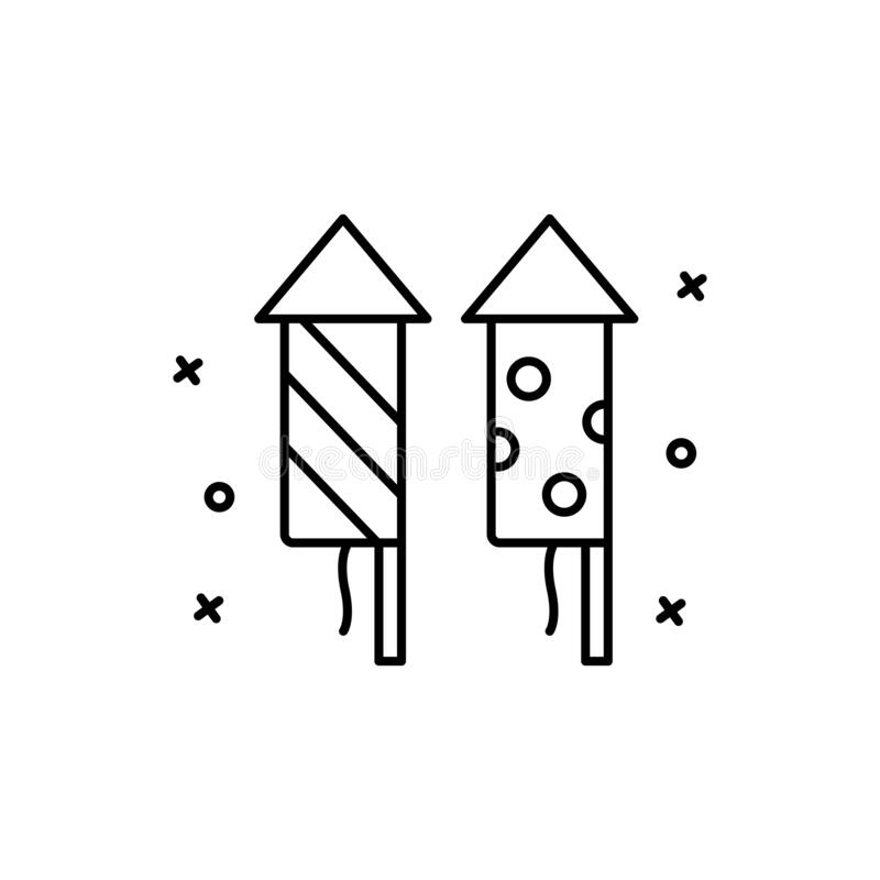Fireworks, rocket icon. Simple line, outline vector elements of last day of carnival icons for ui and ux, website or mobile. Application on white background royalty free illustration