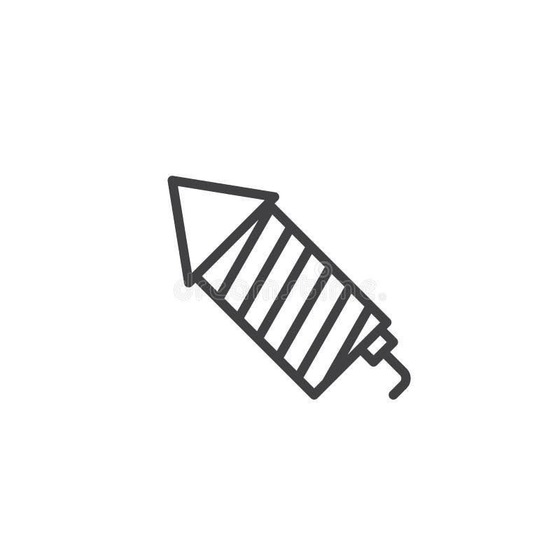 Fireworks rocket line icon royalty free illustration