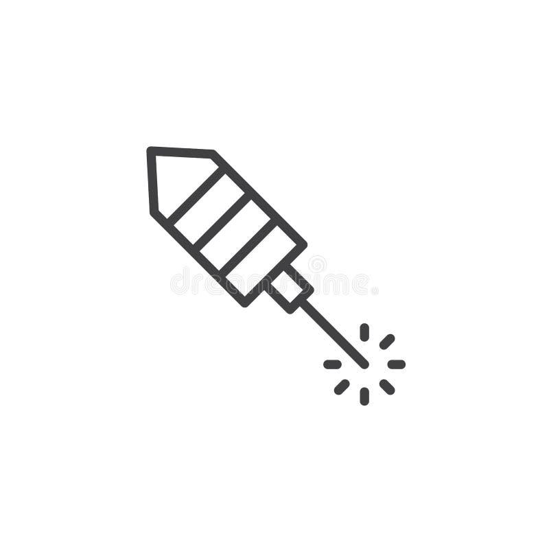 Fireworks rocket outline icon stock illustration