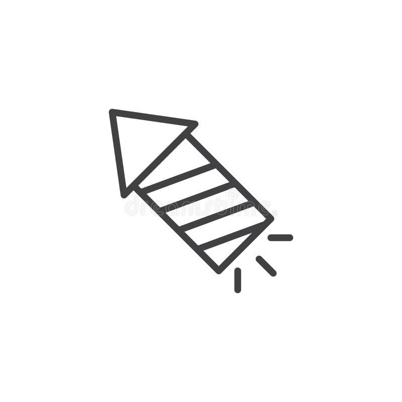Fireworks rocket outline icon vector illustration