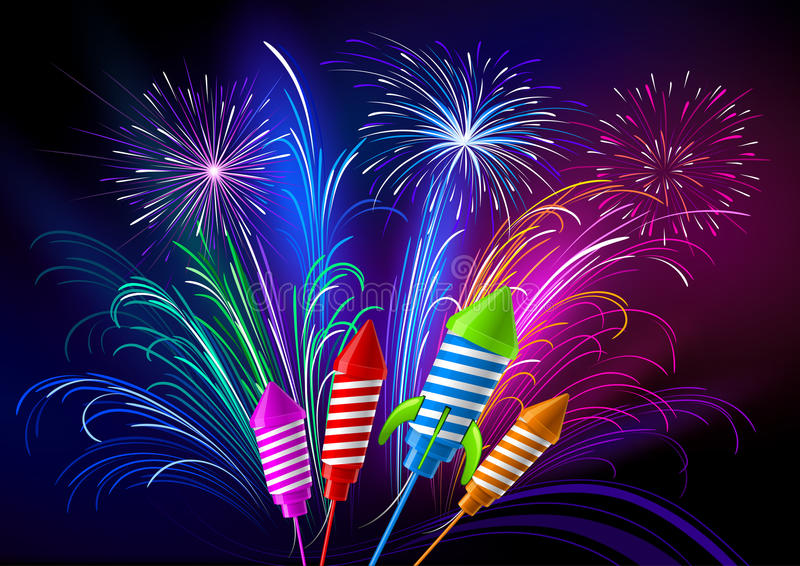 Fireworks and rockets royalty free illustration
