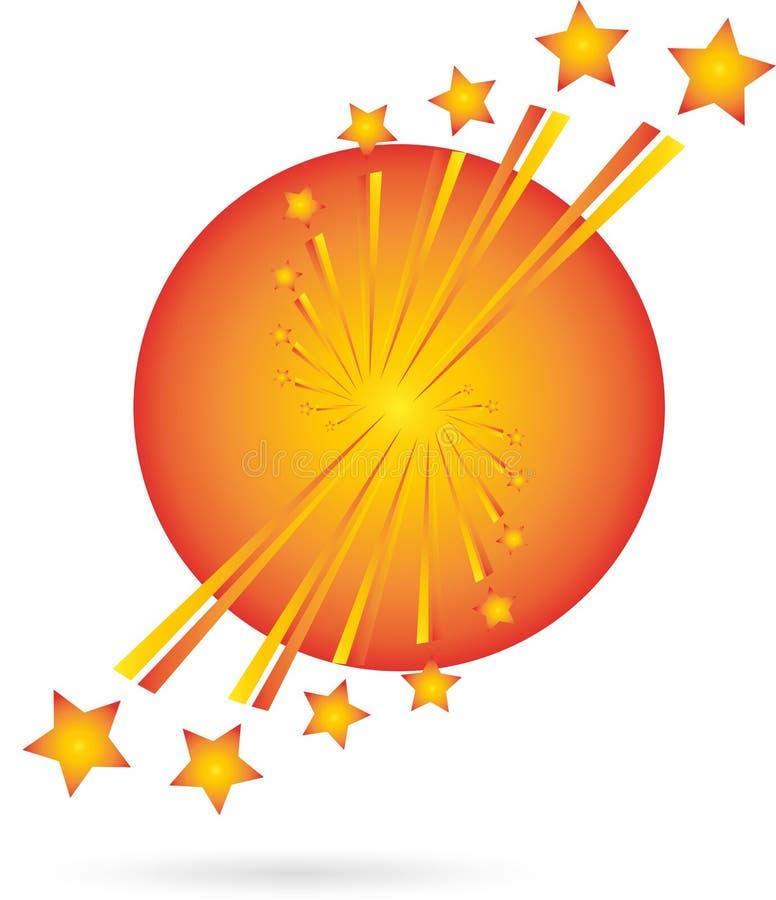 Fireworks, Rockets, Explosion, Luminous Stars vector illustration