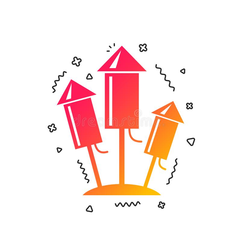 Fireworks rockets icon. Explosive pyrotechnic. Vector royalty free illustration