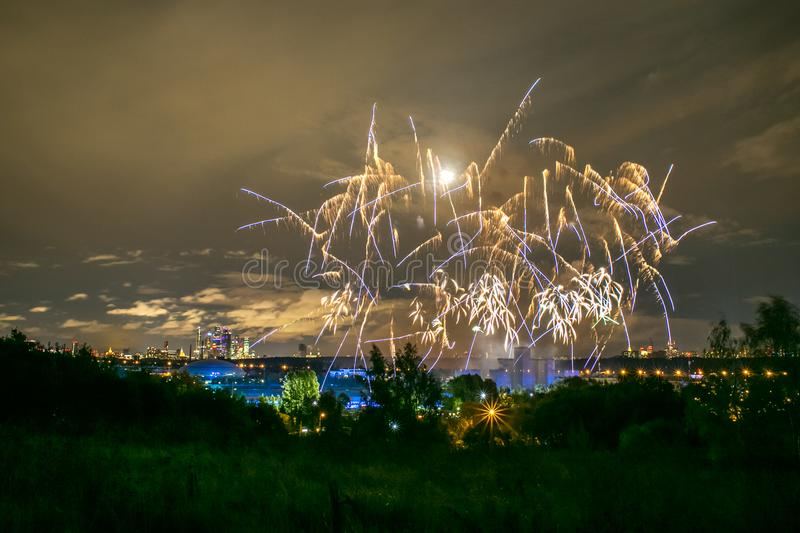 Fireworks on the rowing channel in Krylatskoye. Moscow, Russia - Serntabr 25, 2018: Colorful huge fireworks on the rowing canal in Krylatskoe from Japanese royalty free stock photography