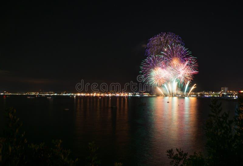 Fireworks Salou. Fireworks in Salou , Tarragona - Spain royalty free stock photos