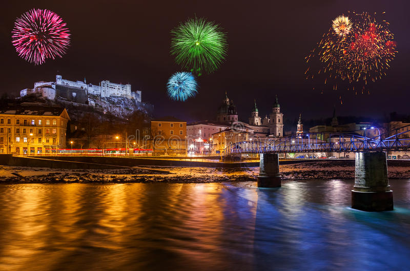 Fireworks in Salzburg Austria. Holiday background stock photography