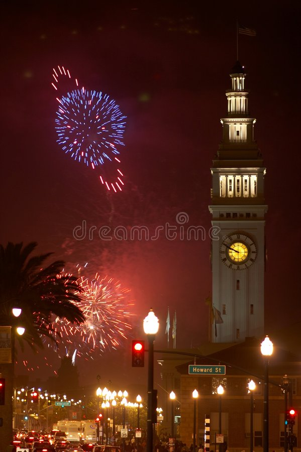Download Fireworks in San Francisco stock photo. Image of ferry - 1419912