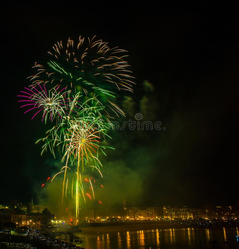 Fireworks in San Sebastian in the Basque country stock photography