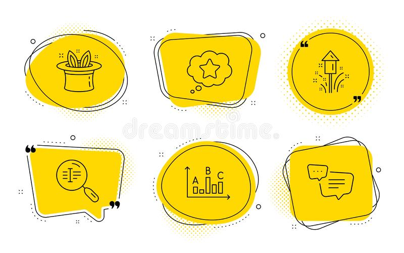 Fireworks, Search text and Loyalty star icon set Tratto con cappello, risultati del sondaggio e segnali di testo Vettore illustrazione di stock