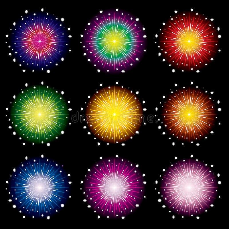 Fireworks set. On black background, Vector illustration stock illustration