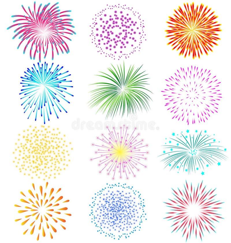 Fireworks Set On White Background Stock Vector ...