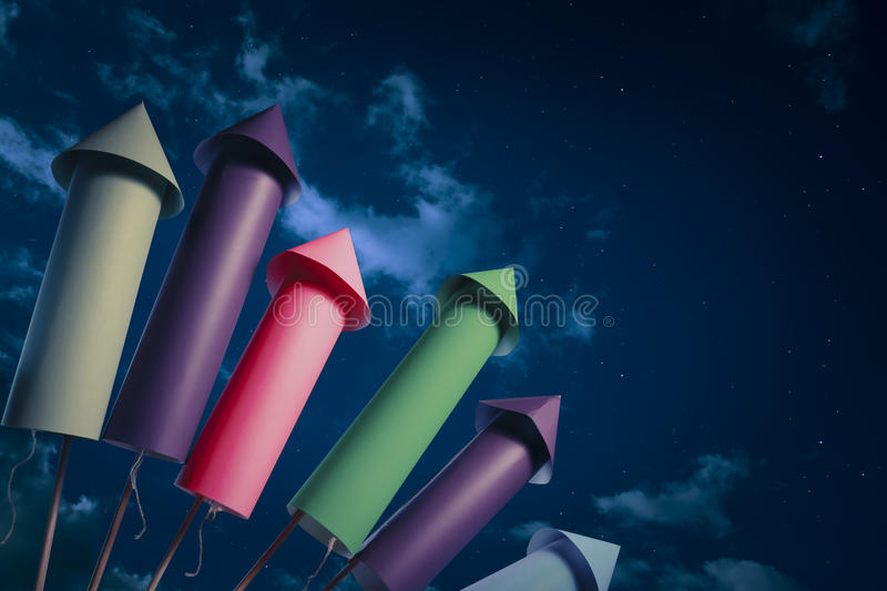 Fireworks setup at night. Fireworks display setup at night royalty free stock images