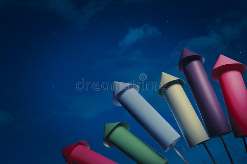 Download Fireworks setup at night stock image. Image of festival - 17736907