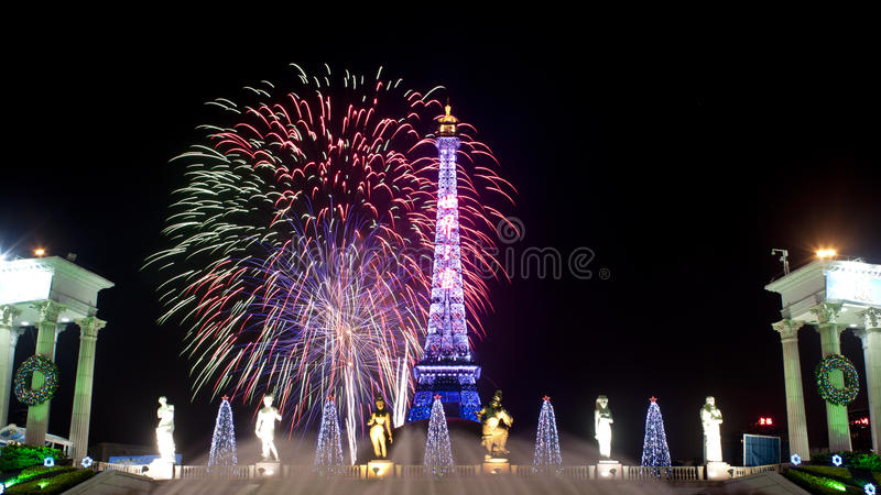 Fireworks in Shenzhen window of the world. Photo take in Shenzhen window of the world park at night stock photography