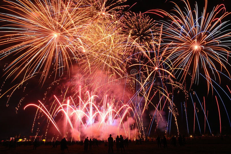 Download Fireworks show stock photo. Image of silhouette, spectator - 6071870