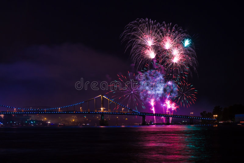 Fireworks show. In the capital of Ukraine, Kiev royalty free stock image