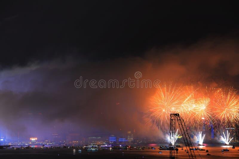 Fireworks show along Victoria harbor stock photo
