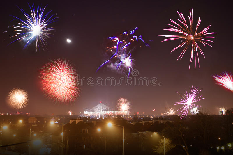 Fireworks show on New Year royalty free stock photo