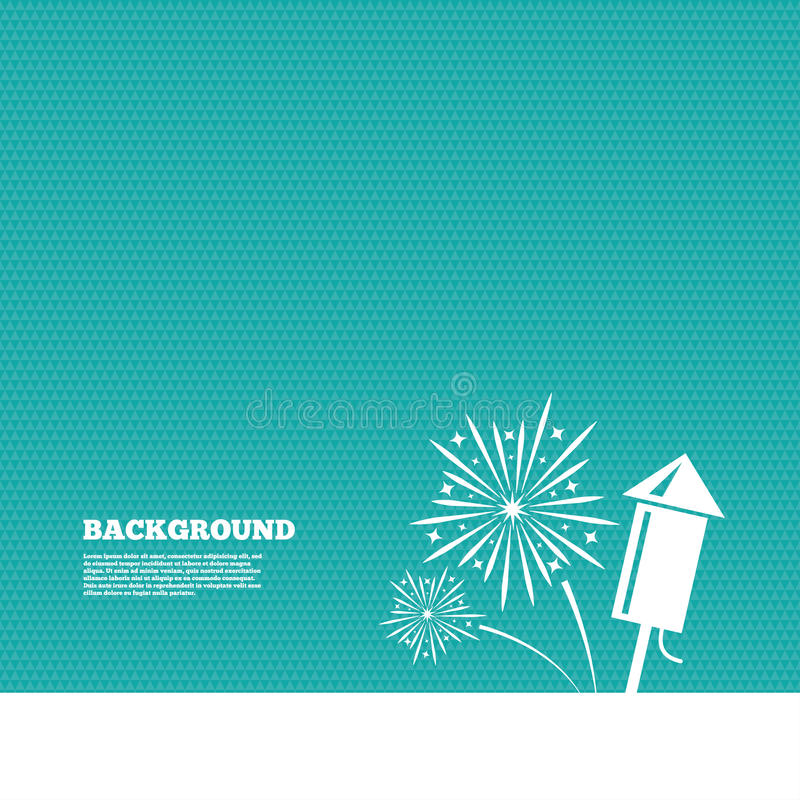 Fireworks sign icon. Explosive pyrotechnic show. Background with seamless pattern. Fireworks with rocket sign icon. Explosive pyrotechnic symbol. Triangles green stock illustration