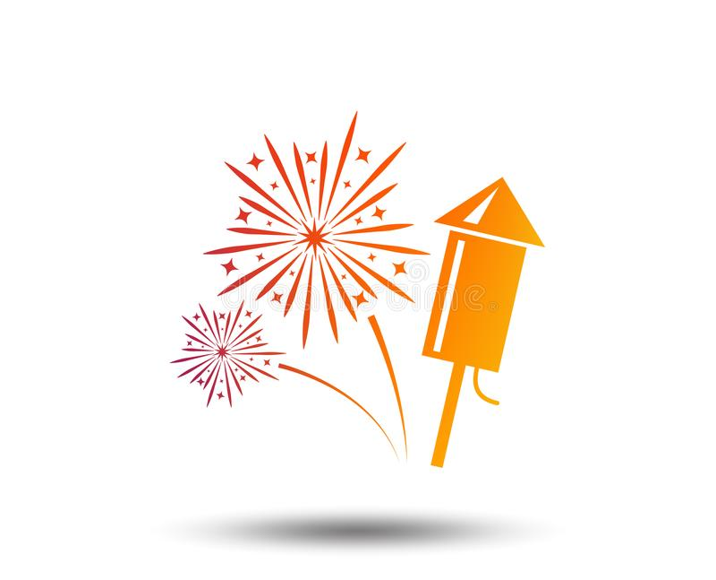 Fireworks sign icon. Explosive pyrotechnic show. Fireworks with rocket sign icon. Explosive pyrotechnic symbol. Blurred gradient design element. Vivid graphic stock illustration