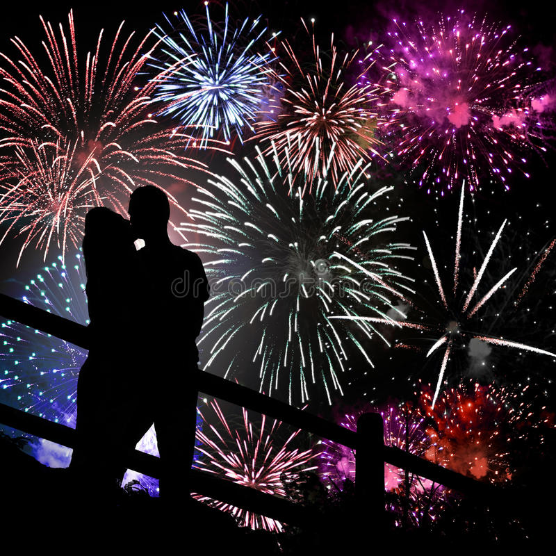 Free Fireworks Silhouette Stock Photography - 15315102