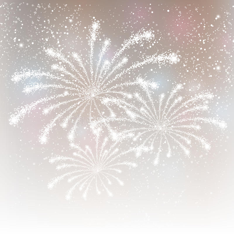 Fireworks on silver background. Shiny fireworks on silver background stock illustration