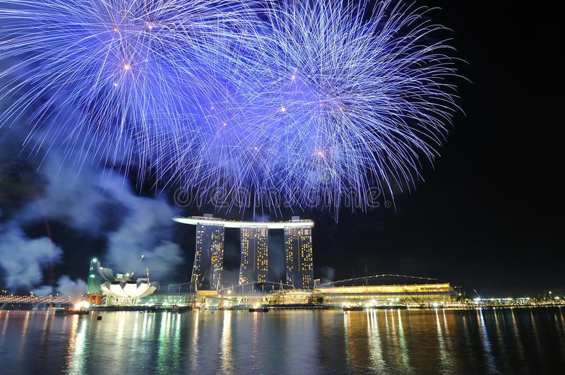 Fireworks - singapore national day 2010 royalty free stock images