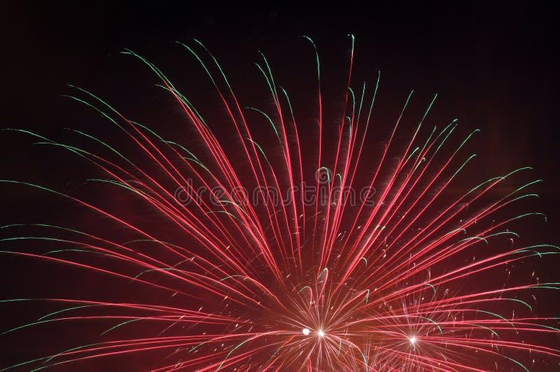 Fireworks in skies stock image