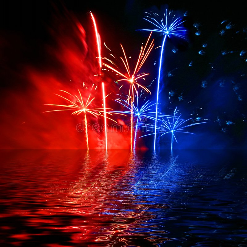 Fireworks in the sky. Background of red and blue fireworks in the sky over water stock illustration