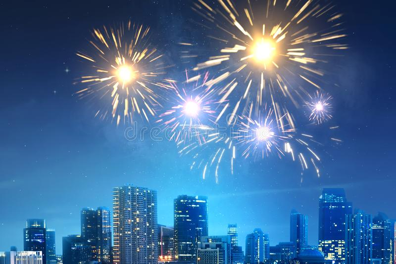 Fireworks on the sky at night scene royalty free stock photos