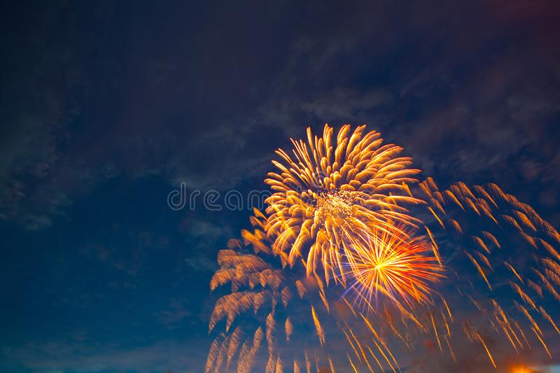 Fireworks in sky twilight. Fireworks display on dark sky background. Independence Day, 4th of July, Fourth of July or New Year stock images