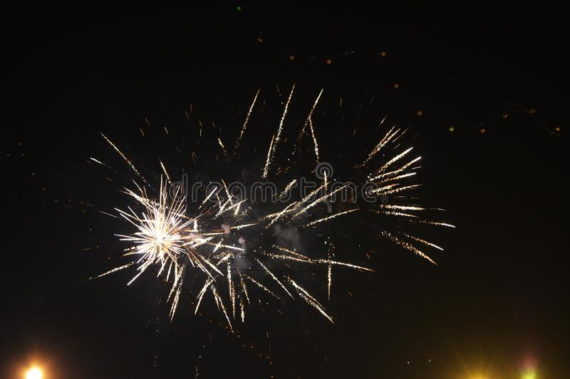 Fireworks. Sparks in night sky. Happy New Year.  stock photo