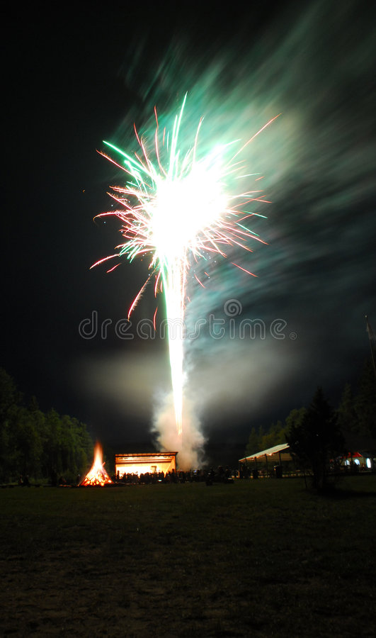 Fireworks on St John's Day royalty free stock images