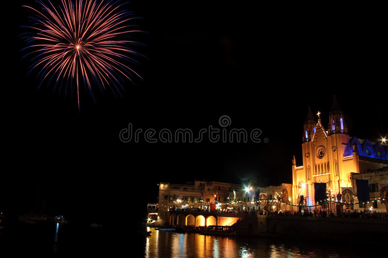 Download Fireworks In St Julians Bay 3. Stock Photo - Image: 7210194
