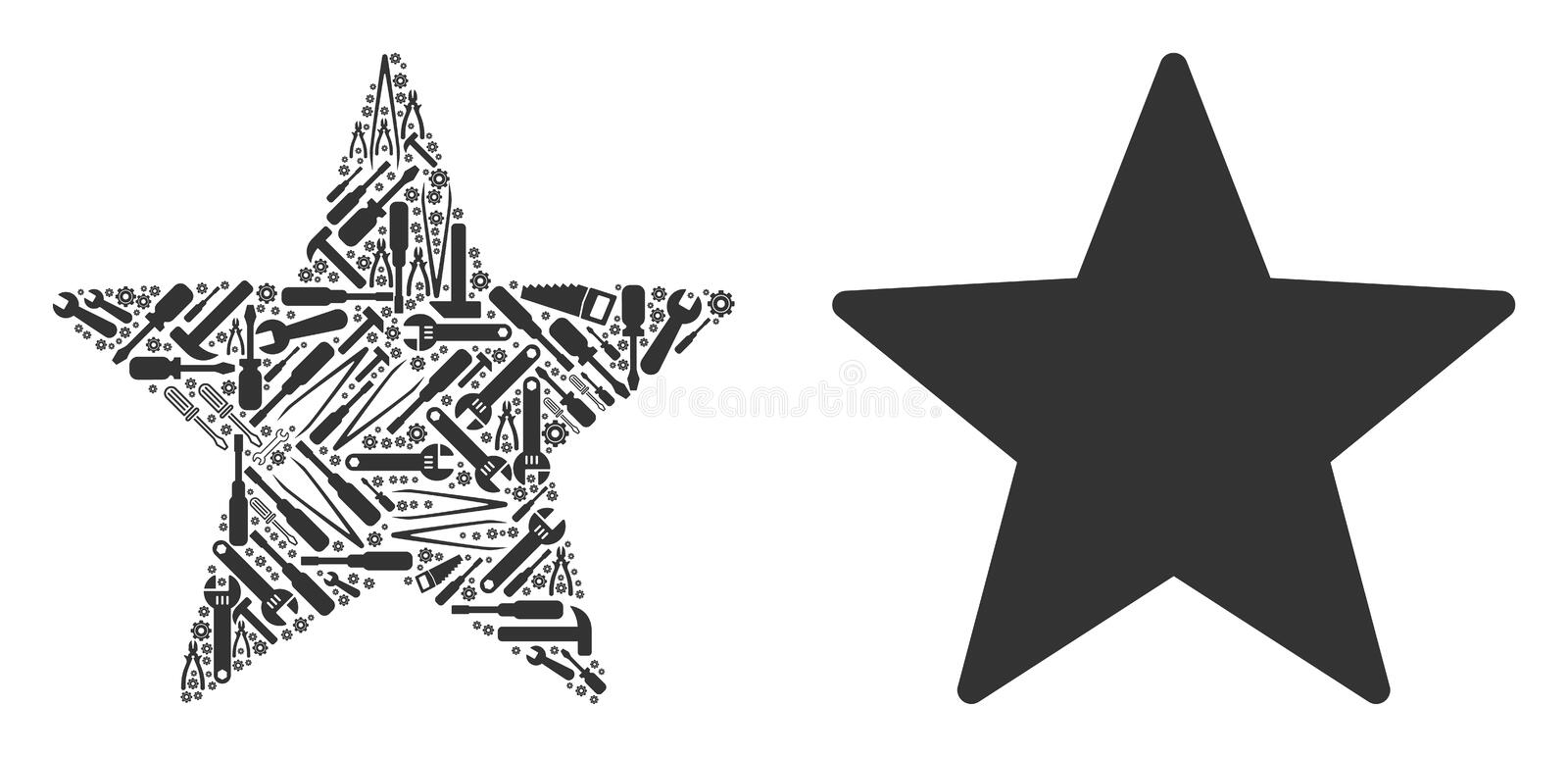 Fireworks Star Collage of Repair Tools royalty free illustration