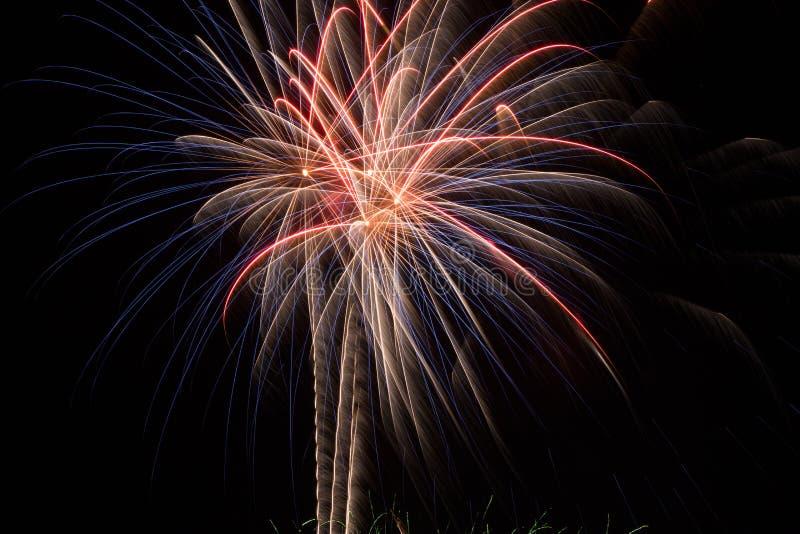 Fireworks Starburst. Fireworks burst in the night sky royalty free stock images