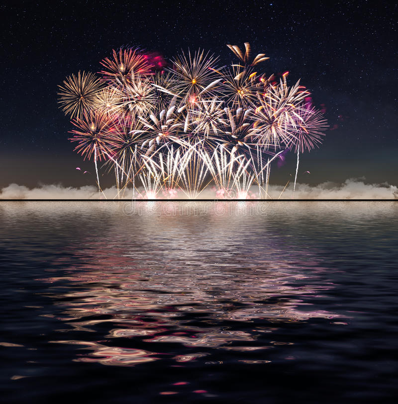 Fireworks and starry sky. The night sky royalty free stock photo