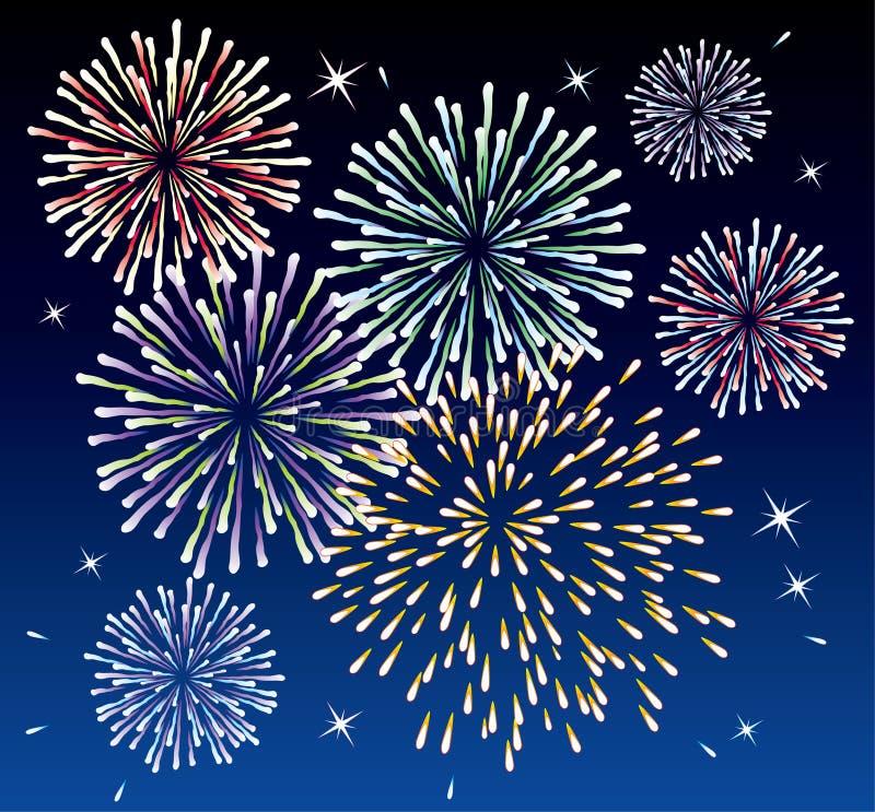 Fireworks and stars. Illustration of fireworks and stars vector illustration