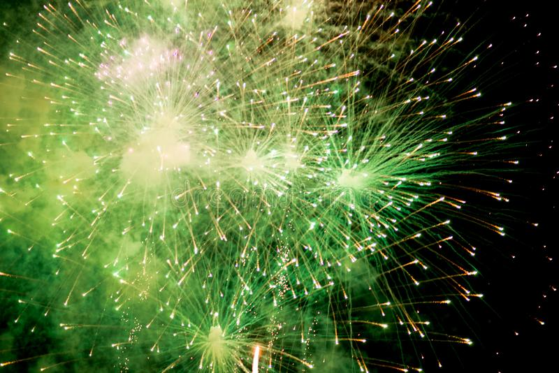 Fireworks. Stars and shiny fireworks on red background royalty free stock photo
