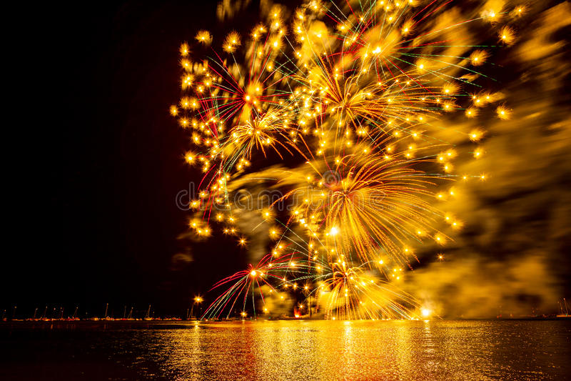 Fireworks in summer. Firework on bodensea in summer time royalty free stock photo