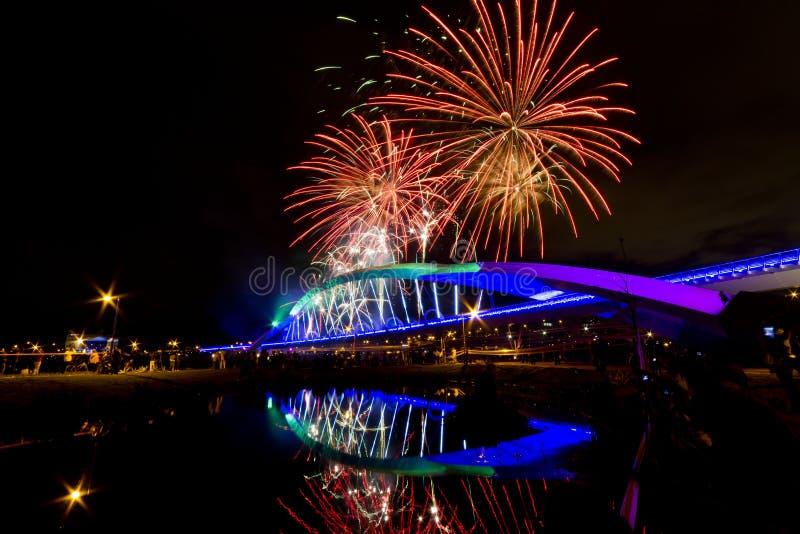 Fireworks at Sun Bridge stock photo