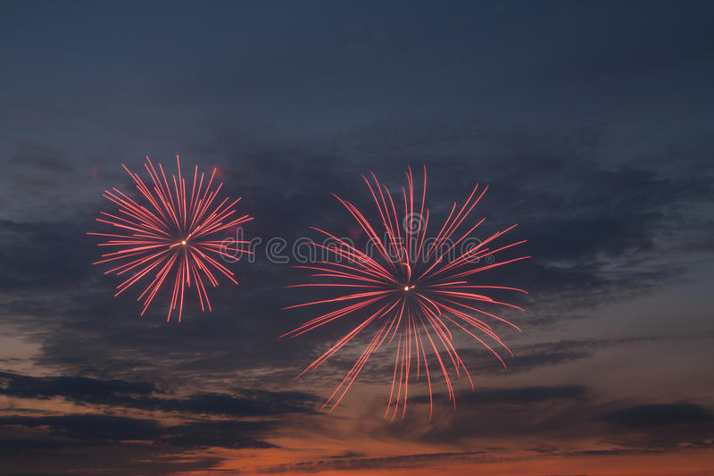 Download Fireworks at sunset stock photo. Image of hague, light - 26391820