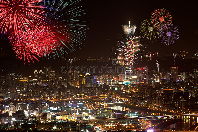 Fireworks of Taipei city royalty free stock photo