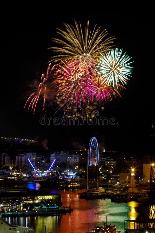 Fireworks to celebrate the Day of Mercy 2017 in Barcelona. Spain royalty free stock photography