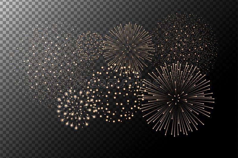 Fireworks on transparent background. Independence day concept. Festive and holidays background. Vector illustration vector illustration