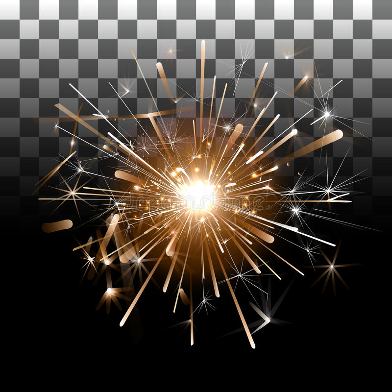 Fireworks on a transparent background stock illustration