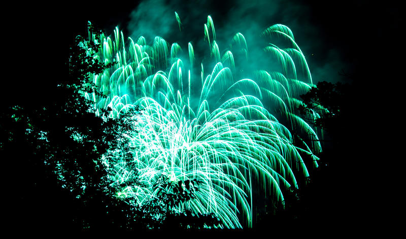 Fireworks and trees. Night Party in Como with Fireworks royalty free stock image